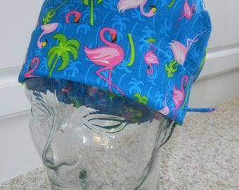 Tie Back Surgical Scrub Hat with Pink Flamingos Palm Trees