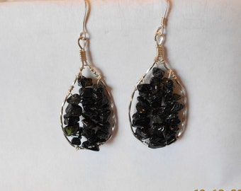 Black Tourmaline Chip Sterling and Silver Filled Dangle Earrings