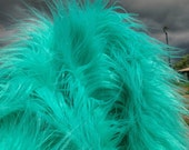 Atlantis - Super long and silky soft 100mm pile TURQUOISE mongolian synthetic faux fur fabric -1/4m