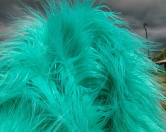 "Atlantis -  FULL YARD - Super long and silky soft 4"" pile TURQUOISE mongolian synthetic faux fur fabric"