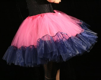 Formal Ultra huge tutu skirt petticoat ruffle Adult hot pink navy organza wedding formal dance prom --Ready to Ship - Large - Sisters