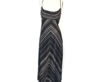 Vintage 1970s Spagetti Strap Halter Disco Dress