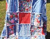 Rag Quilt - Rose Bouquet - Red Blue Pink White Flowers - Stripes - Paisley - Polka Dots - Large Lap Quilt