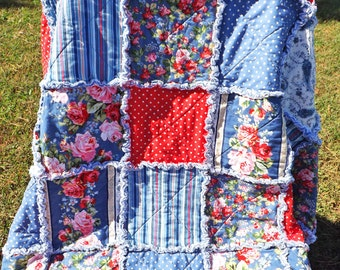 Rag Quilt - Rose Bouquet - Red Blue Pink White Flowers - Stripes - Paisley - Polka Dots - Large Lap Quilt