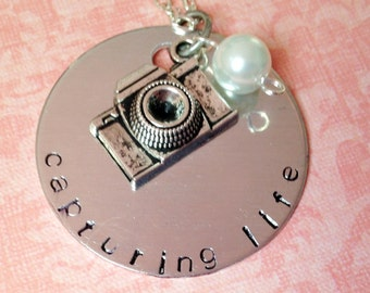 Hand Stamped Capturing Life Photographers Necklace