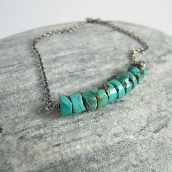 Turquoise Bracelet, Oxidized Sterling Silver Chain, Stone Linked
