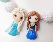 Custom made to order Frozen sisters, Elsa & Anna inspired chunky necklace Cremedelagems