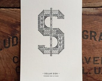 Ornamental Dollar Sign letterpress PRINT
