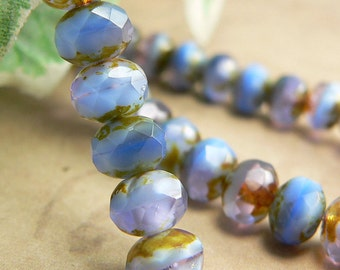 Lavender Light Blue Czech Glass Beads Rondell Purple Picasso 7x5mm (12)