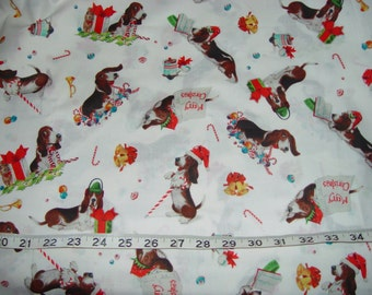 Basset Hound Merry Christmas Fabric - Generous 1 yard