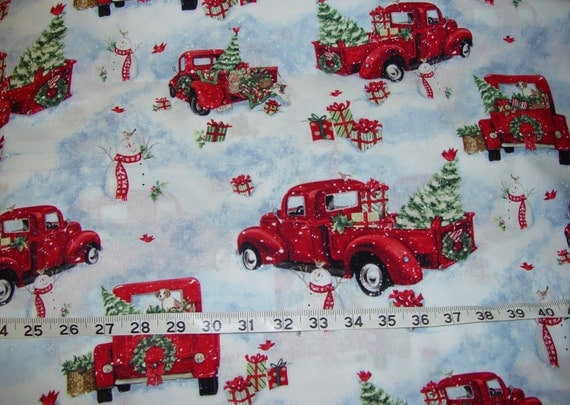 Christmas red pick up truck off to grandmas winget fabric 2 for Little blue truck fabric