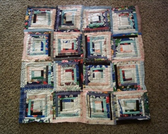 Fun, Funky, Folk Art  Log Cabin Star quilt top for wall or crib quilt, table topper, pillow