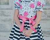 1960's Style Stripe with Animal print and roses dress children, child,clothing