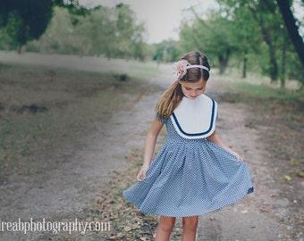 SALE!!Retro 1960s Style Navy Blue and White Polka Dot Bib Dress child, girl clothing