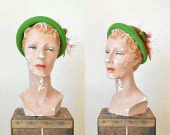 Vintage Green Henry Pollak Hat ---1950s Wool Bowl Hat
