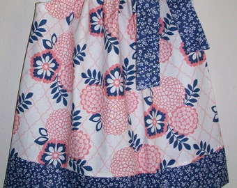Girls Dresses Pillowcase Dress with Flowers Pink and Blue Floral Dresses Summer Dresses Boutique clothes Sister Dresses Kids Clothes