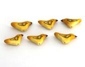 Bird Beads, Canary Yellow Bird, Polymer Clay Beads, Warbler 6 pieces