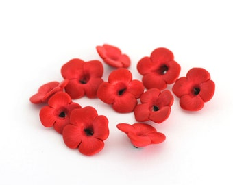 Poppy Beads, Polymer Clay Beads, Red Flower Beads 10 Pieces