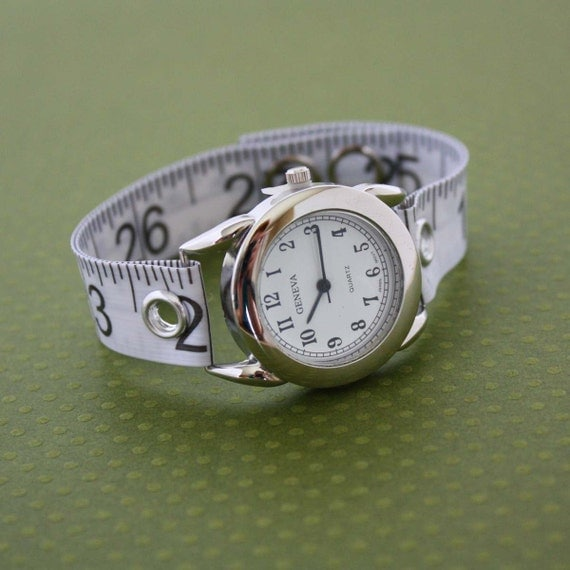 Tape Measure Watch - Round Face - Statement Jewelry created with Upcycled Measuring Tape