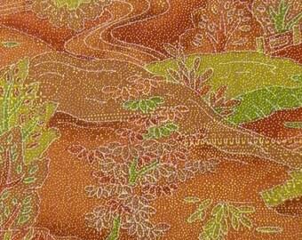 Red, Rust, Pink, Orange, Greens and Brown Scenery Kimono Fabric Lightweight Wool Japanese