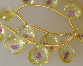 AAA Ruby & Purple Sapphires Floating In Faceted Lemon Quartz Briolettes