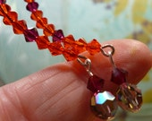earrings Orange and Ruby Swarovski Crystals