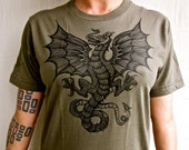 Celtic Dragon Tshirt Wyvern Greeny-Brown St George Jersey Cotton T-Shirt S M L XL 2X