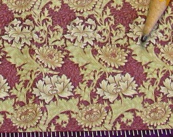 Dollhouse Miniature Arts Crafts UPHOLSTERY FABRIC Wm Morris Chrysanthemum Plum Playscale 1/24th 1/12th