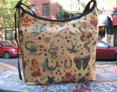Cotton Tattoo Print Market Bag, Sailor Jerry Print Crossbody Hobo Sling Messenger Shoulder Bag