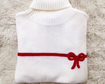Vintage red bow white ski ugly sweater womens small medium villager sport