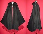 Long Black GYPSY PRINCESS CAPE Medieval Gothic Peasant Hoody Cloak Plus Size 1x 2x 3x 4x 5x