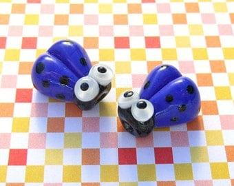 2 Glass Ladybug Beads 14mm Blue Handmade Lampwork Ladybird SRA PCJ F