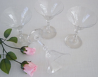 SALE now 30.00 Vintage 1930's Glastonbury/Lotus Vesta Etched CRYSTAL Lot of 4 Champagne/Sherbet Stems-PERFECT Condition-Never Used-Like New