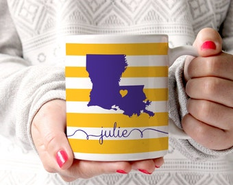 Personalized Coffee Mug -Louisiana state love- other states available