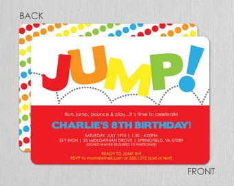Jump Birthday Invitation, Bounce Invitation, Jump Birthday Party Invitation, Pump It Up, Trampoline Party Invitation, Sky High, Above All