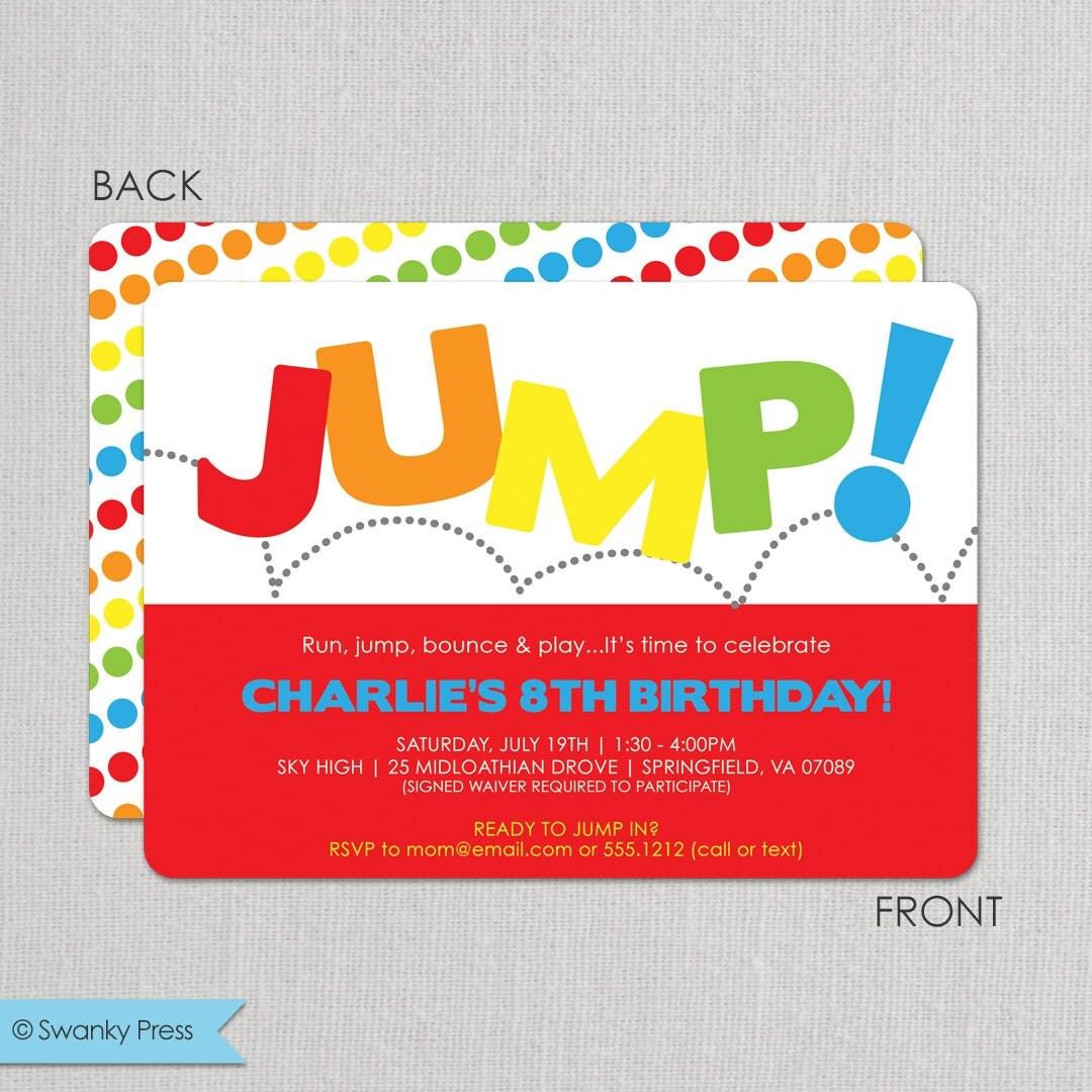 Jump Birthday Invitation Bounce Invitation Jump Birthday
