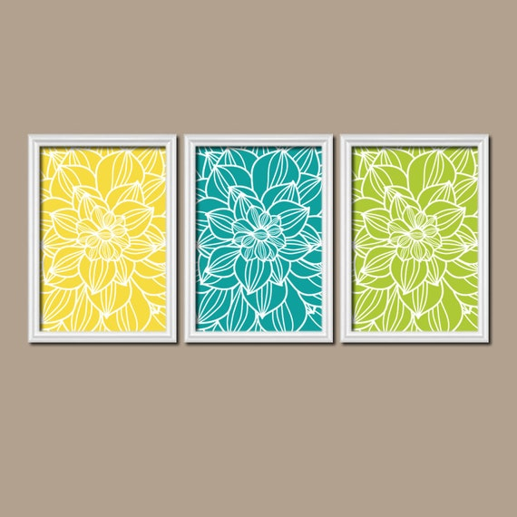 Yellow turquoise lime bedroom pictures canvas or by trmdesign - Yellow and turquoise bathroom ...