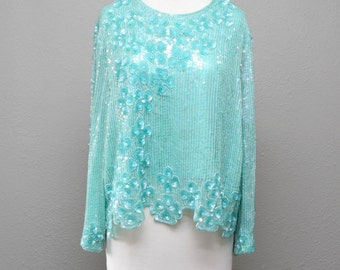 Vintage 1980's Beaded Silk Floral Flowers Teal Green Aqua Sequined Shirt Blouse Top Small-Medium