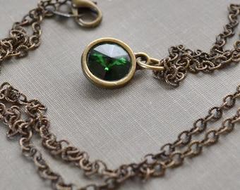 Moss Green Rivoli Necklace, Antique Brass, Dark Moss, Swarovski Crystal Necklace, Boho Layering Necklace, Bridesmaid Jewelry Gift