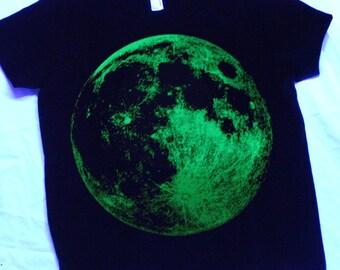 Glow in the dark Full Moon Screenprint Tee Youth Sizes 8 & 12.