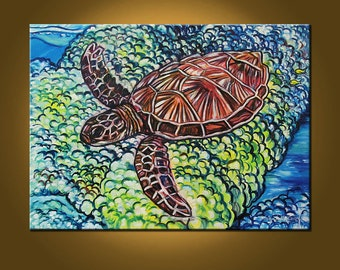 Art Painting Canvas Sea Turtle -- I'll Be There Tonight VII -- 22 x 30 inch Original Painting by Elizabeth Graf on Etsy, READY to HANG