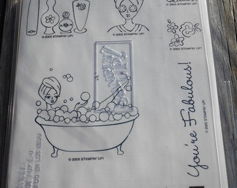 Stampin' Up 2005 Bubble Queen Stamp Set, NEW, UNMOUNTED, and RETIRED