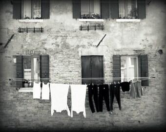 "Venice laundry - black and white wall art - travel photo - clothes line - laundry room decor - Venice Italy ""Black and White Laundry"""