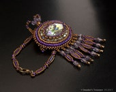 Bronze, Purple and Green Necklace with Sparkling Navette Crystal Pendant and Fringes. Antique Style Bronze Long Necklace with Crystals S291