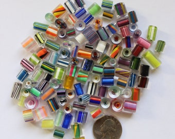 USA Made 100+ Assorted Mix Furnace Cane Glass Beads 1/4 lb.
