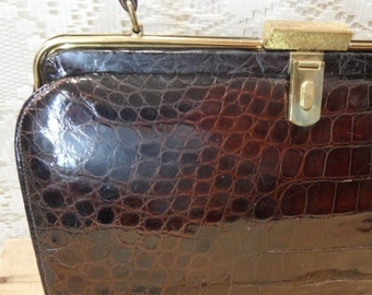 Vintage Bellestone Crocodile handbag brown