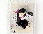 Girl and horse, horse digital print, nursery art, girl room, wall art