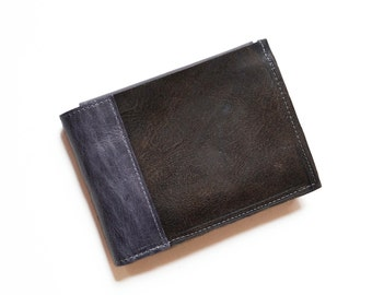 Mens Leather Wallet, Mens Gift, Bifold Wallet, ID Holder Wallet, Boyfriend Gift - The Wesley Wallet in Brown and Slate Grey