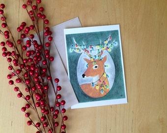Festive Deer - Holiday Greeting - Single 5x7 Notecard