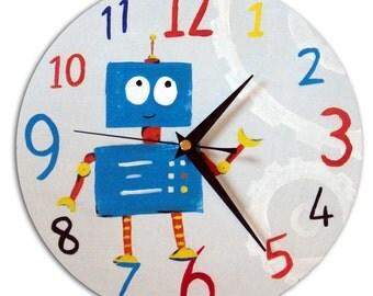 Robot Clock / Children's Wooden Wall Clock / Boys Nursery Decor / Hand-painted